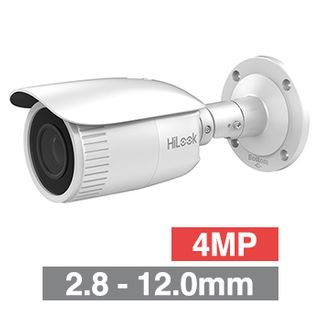 "HILOOK, 4MP HD-IP Outdoor Bullet camera, White, 2.8-12.0mm motorised zoom lens, 30m IR, 120dB WDR, Day/Night (ICR), 1/3"" CMOS, H.265/H.265+, SD card slot, IP67, Tri-axis, 12V DC/PoE"