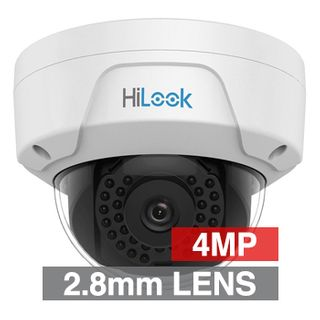 "HILOOK, 4MP HD-IP Outdoor Vandal Dome camera, White, 2.8mm fixed lens, 30m IR, 120dB WDR, Day/Night (ICR), 1/3"" CMOS, H.265/H.265+, IP67, IK10, 2 Axis only, 12V DC/PoE"