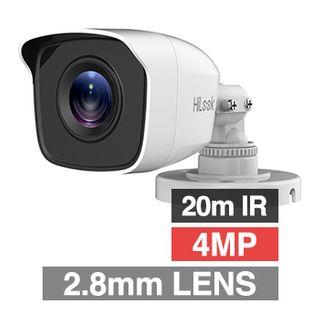 HILOOK, 4MP Analogue HD Outdoor Mini Bullet camera, White, 2.8mm fixed lens, 20m IR, TVI/AHD/CVI/CVBS, DWDR, Day/Night (ICR), IP66, Tri-axis, 12V DC, 4W
