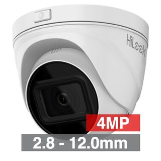 """HILOOK, 4MP HD-IP Outdoor Turret camera, White, 2.8-12.0mm motorised zoom lens, 30m IR, 120dB WDR, Day/Night (ICR), 1/3"""" CMOS, H.265/H.265+, SD card slot, IP67, I Tri-axis, 12V DC/PoE"""