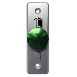 NETDIGITAL, Switch plate, Wall, Labelled with symbols, Architrave, Stainless steel, With green push button, N/O only contacts