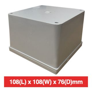 NETDIGITAL, Plastic Enclosure, Grey, 108(L) x 108(W) x 76(D)mm (internal measurements), IP56, screw down lid.