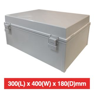 NETDIGITAL, Plastic Enclosure, Grey, 300(L) x 400(W) x 180(D)mm (internal measurements), IP66, hinged lid.