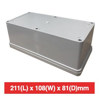 NETDIGITAL, Plastic Enclosure, Grey, 211(L) x 108(W) x 81(D)mm (internal measurements), IP56, screw down lid.