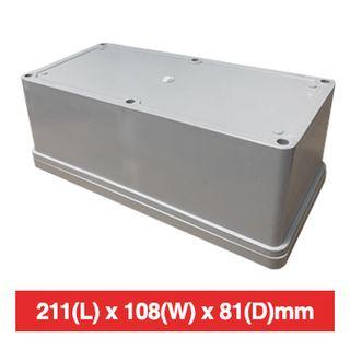 NETDIGITAL, Plastic Enclosure, Grey, 211(L) x 108(W) x 81(D)mm (internal measurements), IP56, screw down lid.
