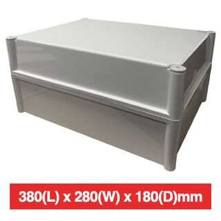 NETDIGITAL, Plastic Enclosure, Grey, 380(L) x 280(W) x 180(D)mm (internal measurements), IP66, screw down lid.
