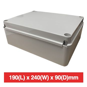 NETDIGITAL, Plastic Enclosure, Grey, 190(L) x 240(W) x 90(D)mm (internal measurements), IP56, screw down lid.