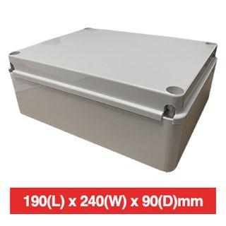 NETDIGITAL, Plastic Enclosure, Grey, 190(L) x 240(W) x 90(D)mm (internal measurements), IP56, screw down lid.