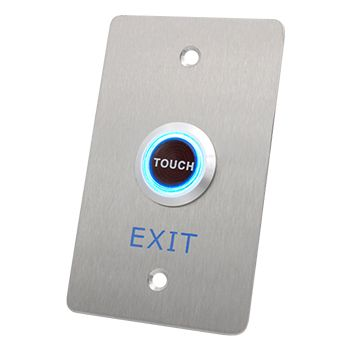 """NETDIGITAL, """"Touch to Exit"""" Wall Sensor Plate, Stainless Steel, Piezo Electric, Plate 70mm x 115mm, Sensor 25mm Diameter, N/O and N/C contacts, 12V DC"""