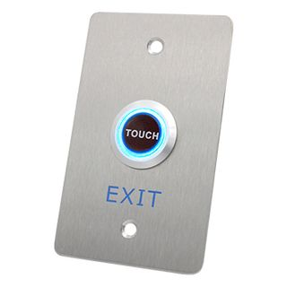 "NETDIGITAL, ""Touch to Exit"" Wall Sensor Plate, Stainless Steel, Piezo Electric, Plate 70mm x 115mm, Sensor 25mm Diameter, N/O and N/C contacts, 12V DC"