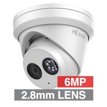 "HILOOK, 6MP HD-IP Outdoor Turret camera, Metal, White, 2.8mm fixed lens, 30m IR, 120dB WDR, Day/Night (ICR), 1/2.9"" CMOS, H.265/H.265+, IP66, Tri-axis, Microphone, 12V DC/PoE"