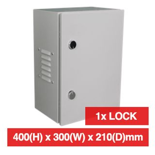 PSS, Enclosure, Metal, Beige, Weather resistant, IP55 rated with vents open or IP66 with vents sealed, 400(H) x 300(W) x 210(D)mm, With keyed cabinet lock.
