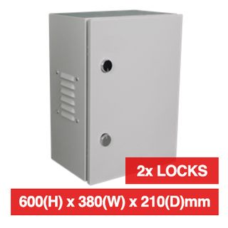PSS, Enclosure, Metal, Beige, Weather resistant, IP55 rated with vents open or IP66 with vents sealed, 600(H) x 380(W) x 210(D)mm, With keyed cabinet lock.