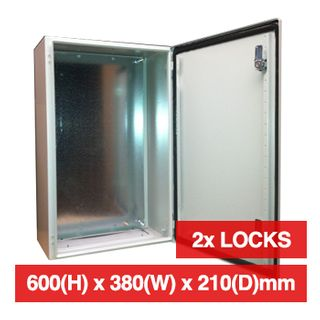 PSS, Enclosure, Metal, Beige, Weather resistant, IP55 rated, 600(H) x 380(W) x 210(D)mm, With 2 cabinet locks