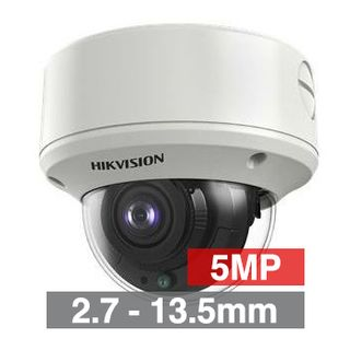 HIKVISION, 5MP Analogue HD Outdoor Dome camera, White, 2.7-13.5mm motorised zoom lens, 60m IR, 130dB WDR, Day/Night (ICR), IP67, Tri-axis, 12V DC/24V AC