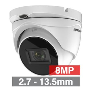HIKVISION, 8MP Turbo HD Ultra low light Outdoor Turret camera, White, 2.7-13.5mm motorised zoom lens, 60m IR, TVI/AHD/CVI/CVBS, 130dB WDR, Day/Night (ICR), IP67, Tri-axis, 12V DC/24V AC,