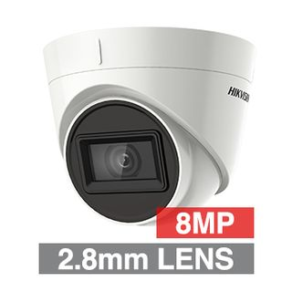 HIKVISION, 8MP Turbo HD Ultra low light Outdoor Turret camera, White, 2.8mm fixed lens, 60m IR, TVI/AHD/CVI/CVBS, 130dB WDR, Day/Night (ICR), IP67, Tri-axis, 12V DC
