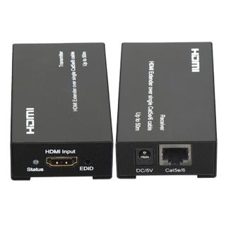 XTENDR, HDMI extender, 1080p, Up to 45m (single Cat5e), Up to 50m (single Cat6), HDMI V1.3, Powered at both ends (2x 5V DC 2A adaptors included)