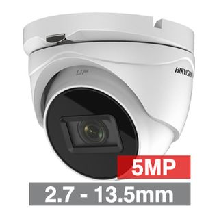 HIKVISION, 5MP Analogue HD Outdoor Turret camera, White, 2.7-13.5mm motorised zoom lens, 60m IR, TVI/AHD/CVI/CVBS, 130dB WDR, Day/Night (ICR), IP67, Tri-axis, 12V DC/24V AC