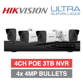 HIKVISION/ULTRA special, Incl 4 x Hikvision 4MP IP Mini Bullets 1 x Ultra/Hikvision OEM 4 Channel NVR