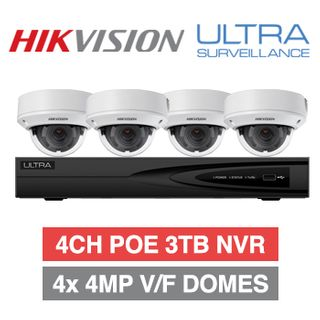 HIKVISION/ULTRA special, Incl 4 x Hikvision 4MP IP Motorized Zoom Domes or Bullets 1 x Ultra/Hikvision OEM 4 Channel NVR