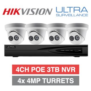 "HIKVISION/ULTRA special, Incl 4 x Hikvision 4MP IP ""Pig Nose"" Turrets 1 x Ultra/Hikvision OEM 4 Channel NVR"