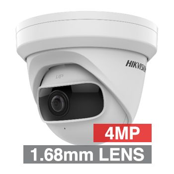 "HIKVISION, 4MP Ultra Wide HD-IP Turret camera, White, 1.68mm fixed lens, 10m IR, 170 Degree view, Day/Night (ICR), 1/2.7"" CMOS, H.265/H.265+, Tri-axis, 12V DC/PoE"