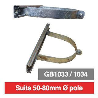 PSS, Pole mounting bracket for outdoor box, 50mm-80mm diameter pole, suits GB1033 or GB1034 comes with 300mm long rails.