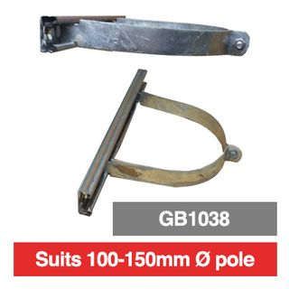 PSS, Pole mounting bracket for outdoor box, 100mm-150mm diameter pole, suits GB1038, comes with 380mm wide rails.