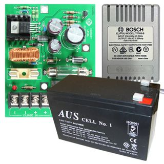 NETDIGITAL, battery backup power supply kit, includes 13.8V DC 2 Amp Power Supply PCB with variable voltage adjustment & fuse protection. Comes with plug pack & 7ah battery. PCB ONLY