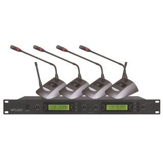 CMX, 4 channel UHF Wireless microphone, 915-928MHz, 4x tabletop microphones, 1RU receiver, 4 balanced outputs, 6.35 mixed output