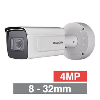 "HIKVISION, 4MP Dark Fighter HD-IP Bulllet camera, White, 8-32mm zoom lens, 100m IR, 25fps, 140dB WDR, Day/Night (ICR), 1/1.8"" CMOS, H.265/H.265+, IP67, IK10,  12V DC/PoE"
