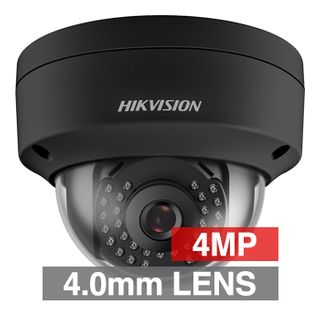 "HIKVISION, 4MP HD-IP Outdoor Vandal Dome camera, Black, 4.0mm fixed lens, 30m IR, DWDR, Day/Night (ICR), 1/3"" CMOS, H.265/H.265+, IP67, IK10, 2 Axis only, 12V DC/PoE"