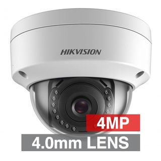 "HIKVISION, 4MP HD-IP Outdoor Vandal Dome camera, White, 4.0mm fixed lens, 30m IR, DWDR, Day/Night (ICR), 1/3"" CMOS, H.265/H.265+, IP67, IK10, 2 Axis only, 12V DC/PoE"