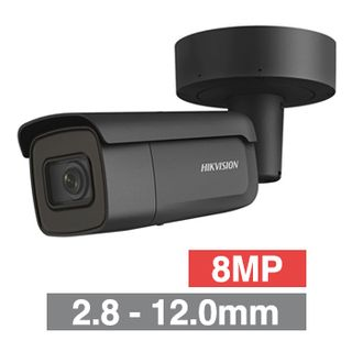 "HIKVISION, 8MP HD-IP Outdoor Bullet camera, Black, 2.8-12.0mm motorised zoom lens, 50m IR, WDR, Day/Night (ICR), 1/2.5"" CMOS, H.265 & H.265+, IP67, IK10, 12V DC/PoE"