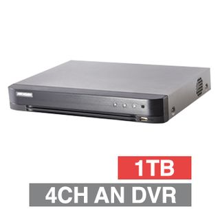 HIKVISION, Analogue Turbo HD DVR, 4 ch, H265+, 2CH IP support, 1x 1TB SATA HDD (1x 8TB max), VMD, USB/Network backup, Ethernet, 2x USB2.0, 4 Audio In/1 Out, HDMI/VGA/BNC outputs