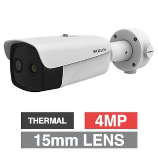 """HIKVISION, 4MP Fusion Indoor Body Temp/Thermal bullet camera, White, 15mm fixed lens (thermal), 6mm fixed lens (optical), 384x288 Thermal, 50m IR, 120dB WDR, Day/Night (ICR), 1/2.7"""" CMOS, H.265+,IP66"""