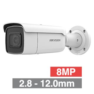 "HIKVISION, 8MP HD-IP DARKFIGHTER, Outdoor Bullet camera, White, 2.8-12.0mm motorised zoom lens, 50m IR, WDR, Day/Night (ICR), 1/2"" CMOS, H.264+ & H.265+, IP67, IK10, 12V DC/PoE"