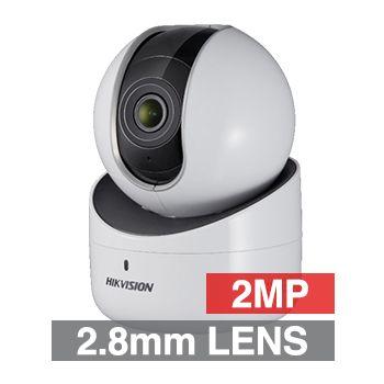 "HIKVISION, 2MP HD-IP Mini PT camera, White, 2.8mm fixed lens, 10m IR, DWDR, 1/2.8"" CMOS, H.264, Built-in WiFi, Microphone, Speaker, Pan-Tilt, 5V DC"