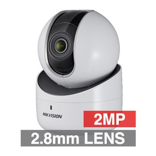 "HIKVISION, 2MP HD-IP Mini PT camera, White, 2.8mm fixed lens, 10m IR, DWDR, 1/2.8"" CMOS, H.264, Built-in WiFi, Microphone, Speaker, Pan-Tilt, 5V DC"