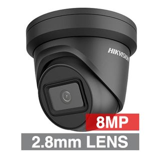 "HIKVISION, 8MP HD-IP DarkFighter Outdoor Turret camera, Black, 2.8mm fixed lens, 30m IR, WDR, Day/Night (ICR), 1/2"" CMOS, H.265/H.265+, IP67, Tri-axis, 12V DC/PoE"