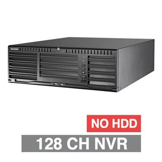 HIKVISION, HD-IP NVR, 128 channel, 576Mbps bandwidth, NO HDD, Up to 16x SATA HDD (8TB max), RAID, VMD, USB/Network backup, Ethernet, 2x USB2.0 & 2x USB3.0, 1 Audio In/Out, 2x HDMI/1x VGA