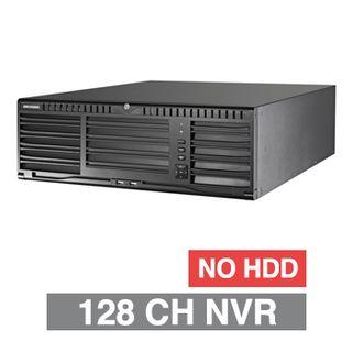 HIKVISION, HD-IP NVR, 128 channel, 576Mbps bandwidth, Up to 16x SATA HDD (16x 8TB max), RAID, VMD, USB/Network backup, Ethernet, 2x USB2.0 & 2x USB3.0, 1 Audio In/Out, 2x HDMI/1x VGA