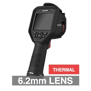 HIKVISION, Handheld Fusion body temperature screening camera, Black, 6.2mm lens (thermal), 160x120 Thermal, 2,5,8MP image, 640x480 video, H.265 & H.265+, IP54, 5V DC 2A