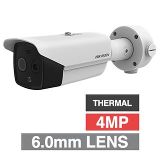 """HIKVISION, 4MP Fusion Indoor Body Temp/Thermal bullet camera, 6.2mm fixed lens (thermal), 8mm fixed lens (optical), 320x240 Thermal, 40m IR, 120dB WDR, Day/Night (ICR), 1/2.7"""" CMOS, H.265+"""