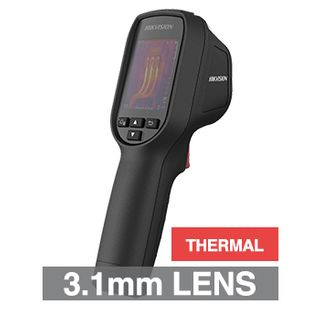 """HIKVISION, Handheld Body Temp/Thermographic temperature screening camera, Black, 3.1mm lens (thermal), 160x120 Thermal, 320x240 2.4"""" LCD display, IP54, Lithium battery, 3.7V DC 0.4A,"""