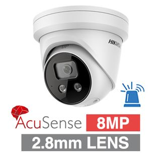 "HIKVISION, 8MP AcuSense G2 HD-IP Outdoor Turret camera with strobe, audible alarm & 2 way audio, White, 2.8mm fixed, 30m IR, WDR, 1/1.8"" CMOS, H.265/H.265+, IP66, Tri-axis, 12V DC/PoE"