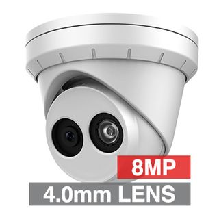 "ULTRA, 8MP HD-IP Outdoor Turret camera, White, 4.0mm fixed lens, 30m IR, WDR, Day/Night (ICR), 1/2.5"" CMOS, H.265/H.265+, IP67, Tri-axis, 12V DC/PoE"