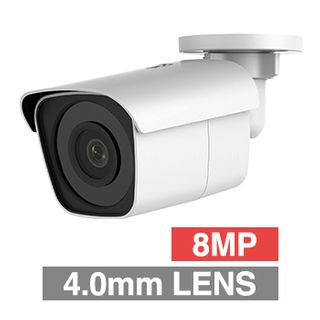 "ULTRA, 8MP HD-IP Outdoor Mini Bullet camera, White, 4.0mm fixed lens, 30m IR, WDR, Day/Night (ICR), 1/2.5"" CMOS, H.265/H.265+, IP67, 12V DC/PoE"
