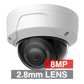 "ULTRA, 8MP HD-IP Outdoor Vandal Dome camera, White, 2.8mm fixed lens, 30m IR, WDR, Day/Night (ICR), 1/2.5"" CMOS, H.265/H.265+, IP67, IK10, Tri-axis, 12V DC/PoE"